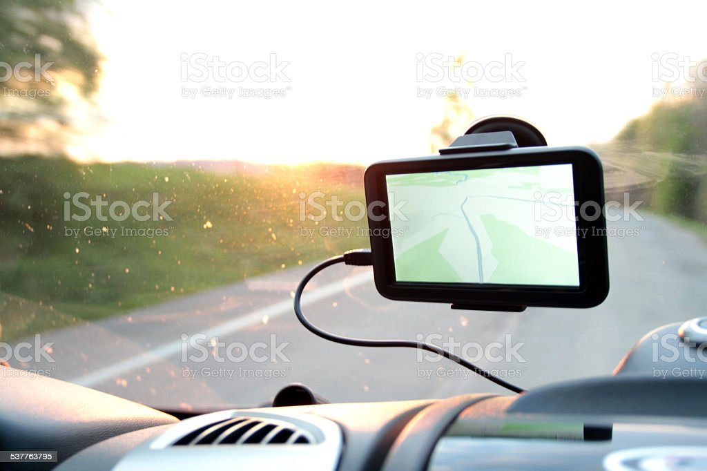 Global Positioning System attached to the windshield stock photo