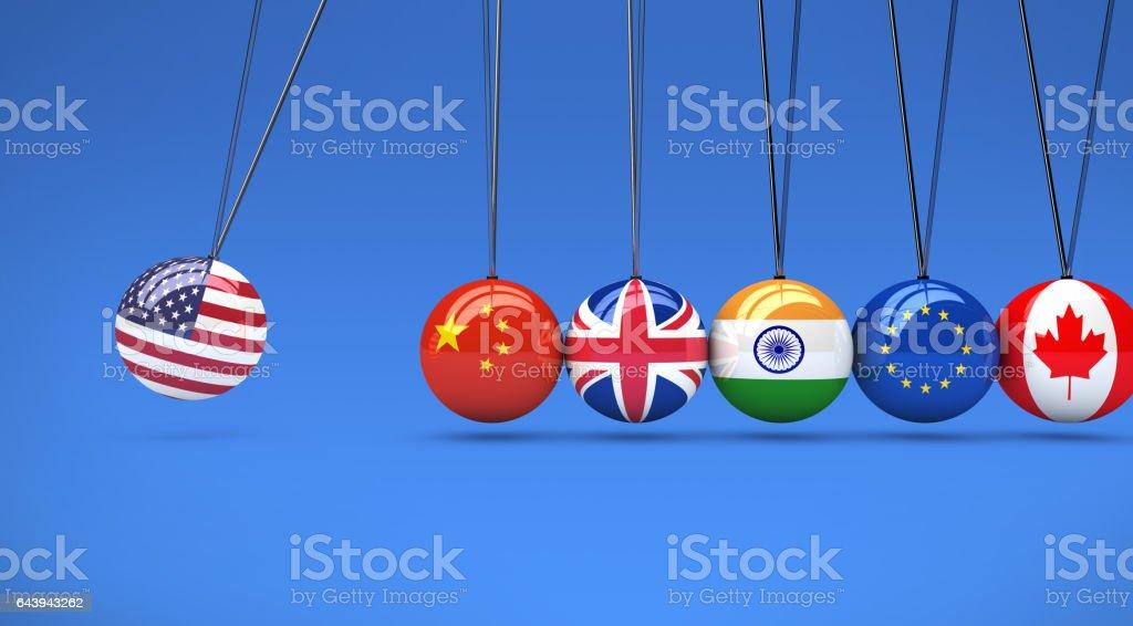 Global Relationships International Flags Cradle stock photo
