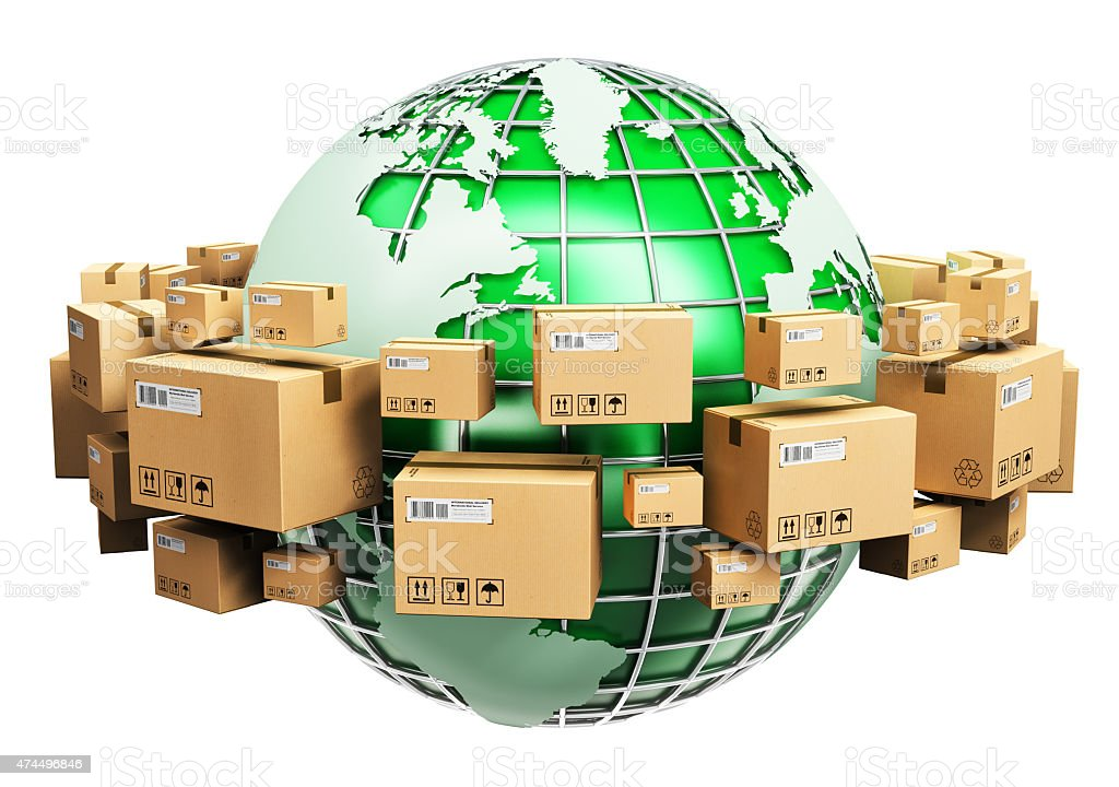 Global shipping and ecology concept stock photo