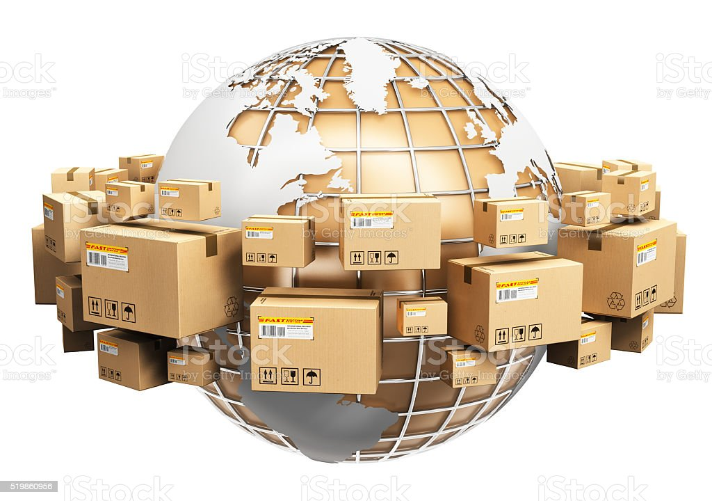 Global shipping and worldwide logistics concept stock photo