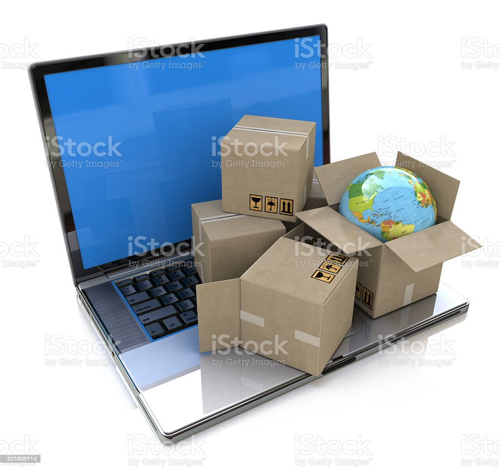 Global shipping, delivery and logistics technology business indu stock photo