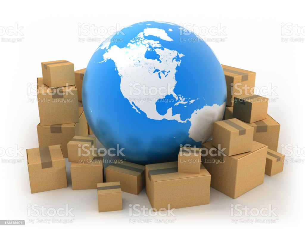 Global shipping: Earth surrounded by boxes, isolated w. clipping path royalty-free stock photo
