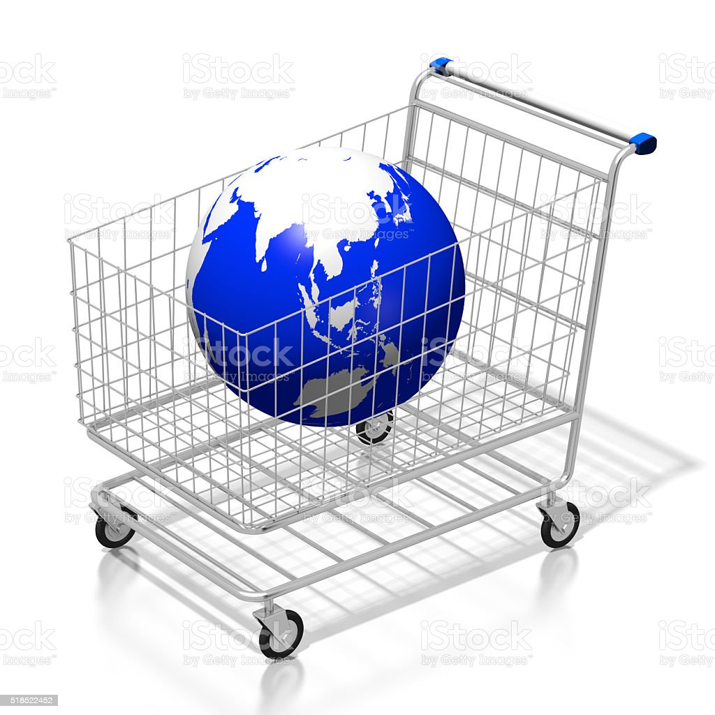 Global shopping concept - 3D cart stock photo