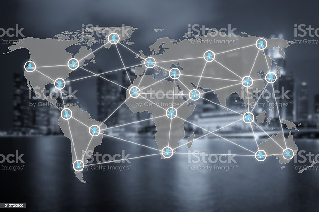Global social network or people management connection diagram stock photo