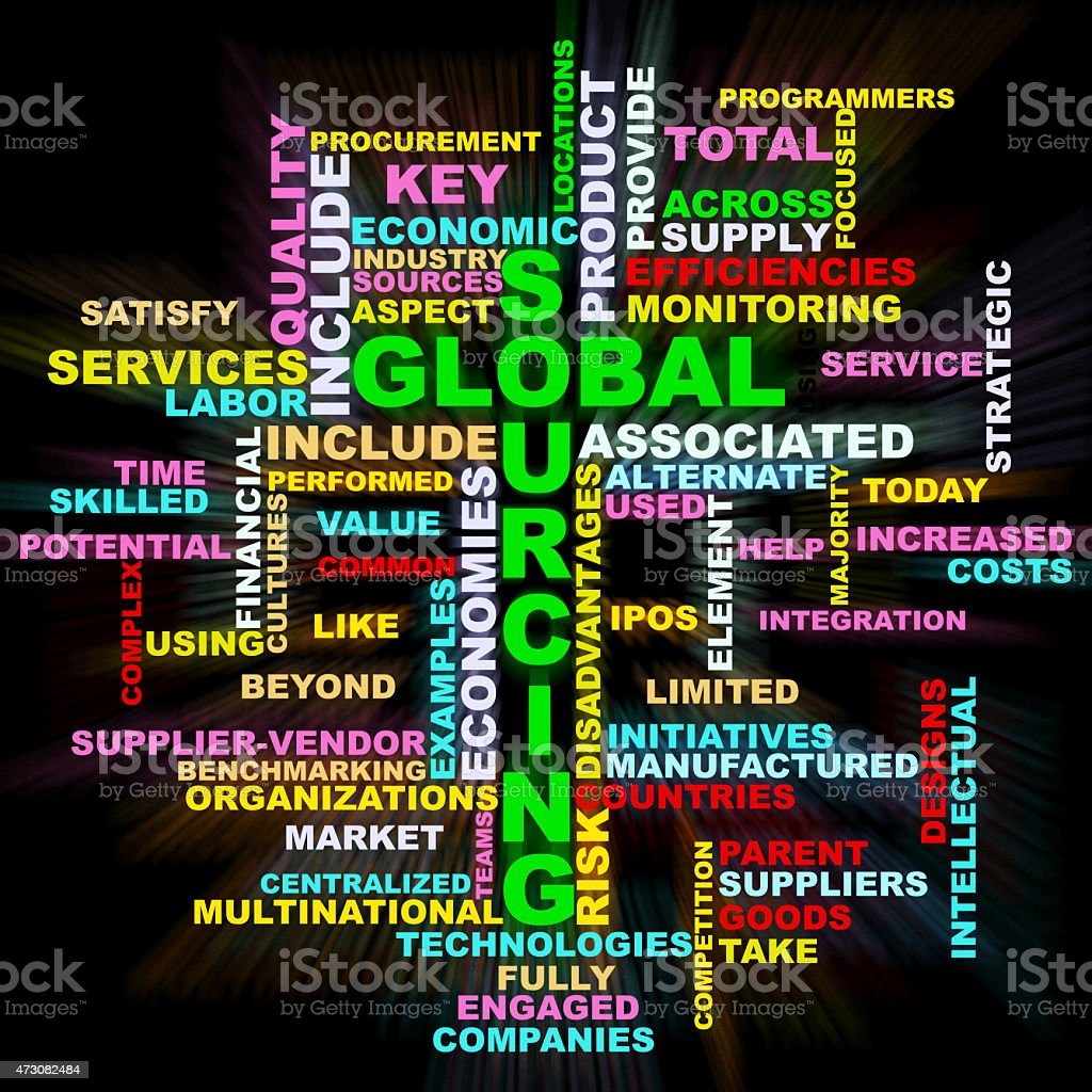 Global Sourcing colorful wordclouds stock photo