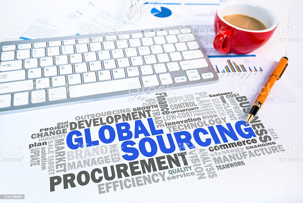 global sourcing word cloud on office scene stock photo