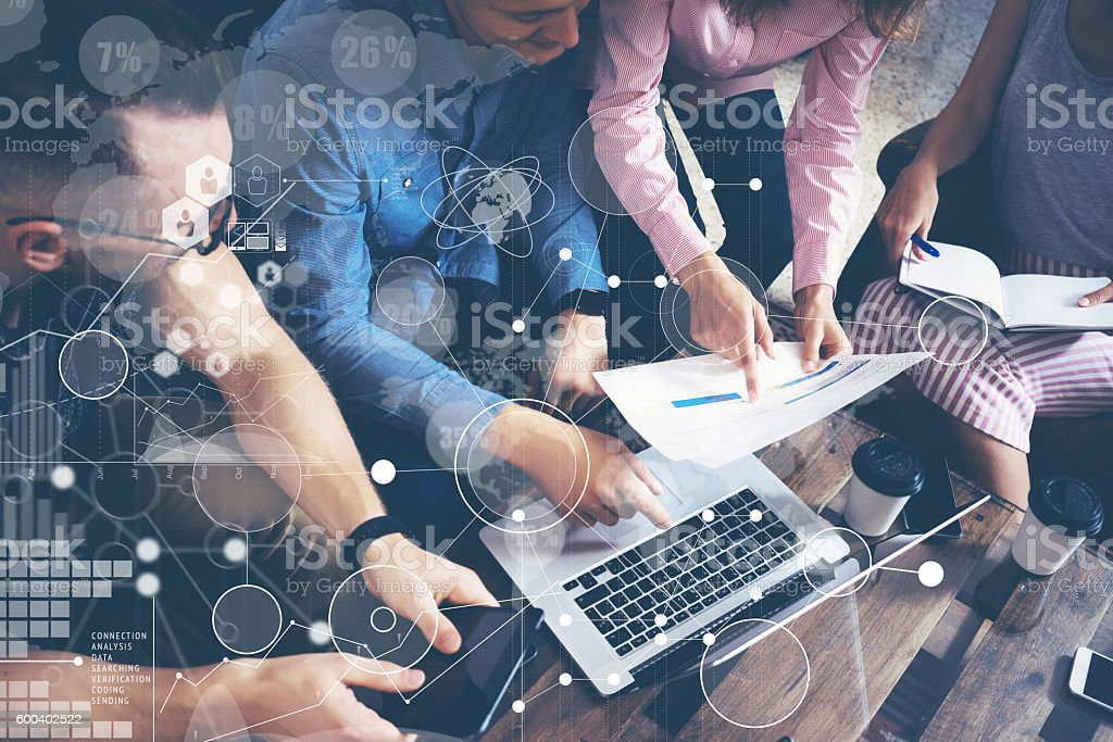 Global Strategy Connection Data Virtual Icon Innovation Graph Interface.Startup stock photo