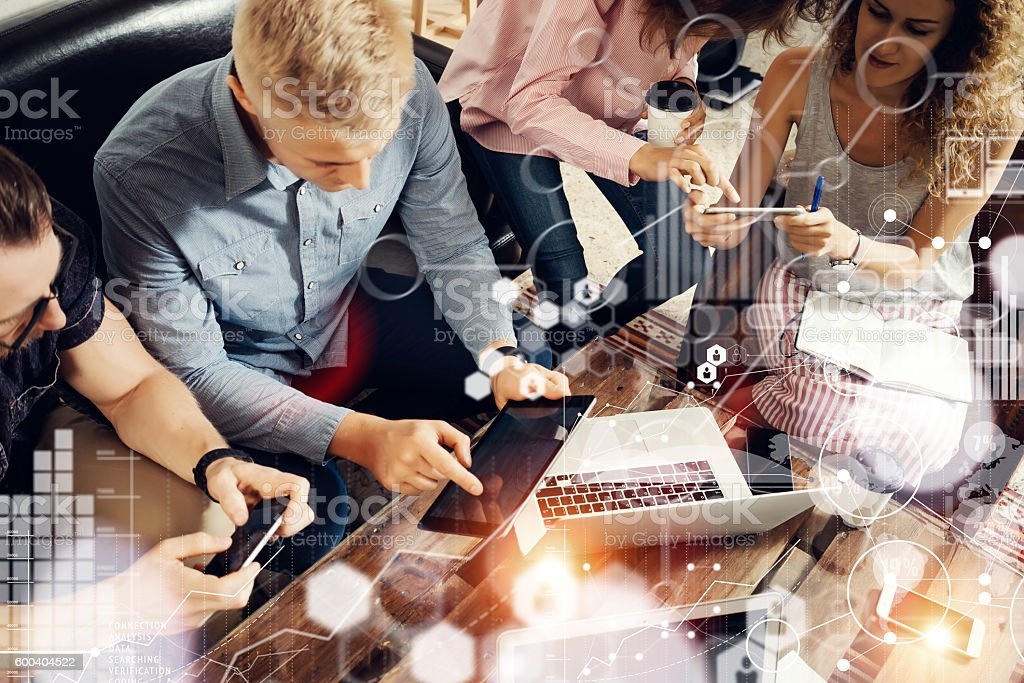 Global Strategy Connection Data Virtual Icon Innovation Graph Interface.Coworkers stock photo