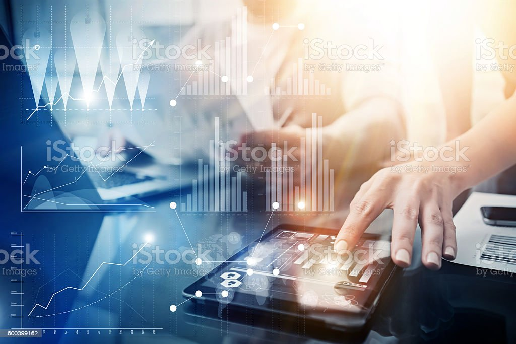 Global Strategy Virtual Icon Innovation Graph Interfaces.Coworkers Making Great stock photo