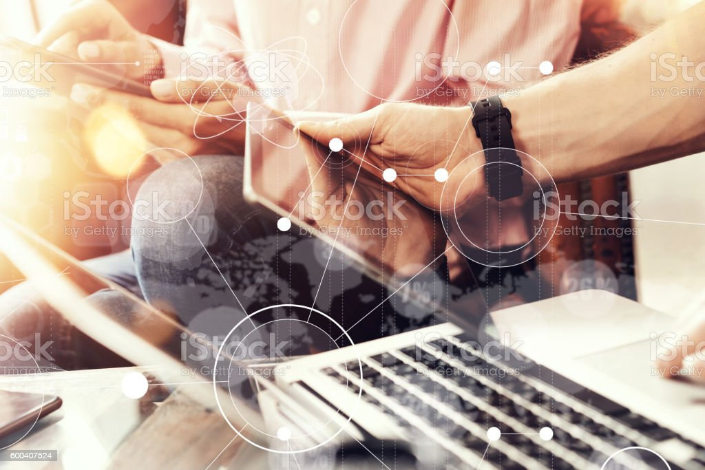 Global Strategy Virtual Icon Innovation Graph Interfaces.Coworkers Making Hand stock photo