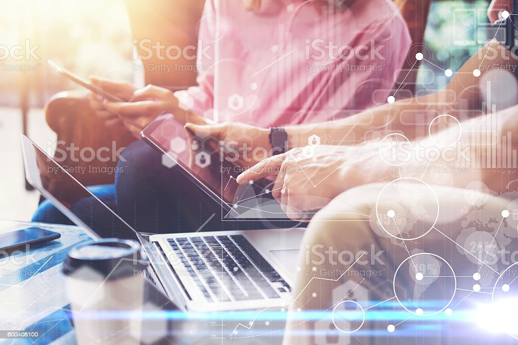 Global Strategy Virtual Icon Innovation Graph Interfaces.Young Coworkers Team stock photo