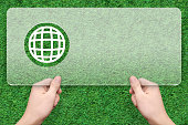 global symbol message box with green grass background