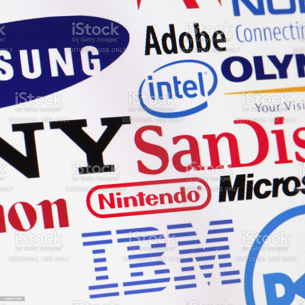 Global technology brands background stock photo