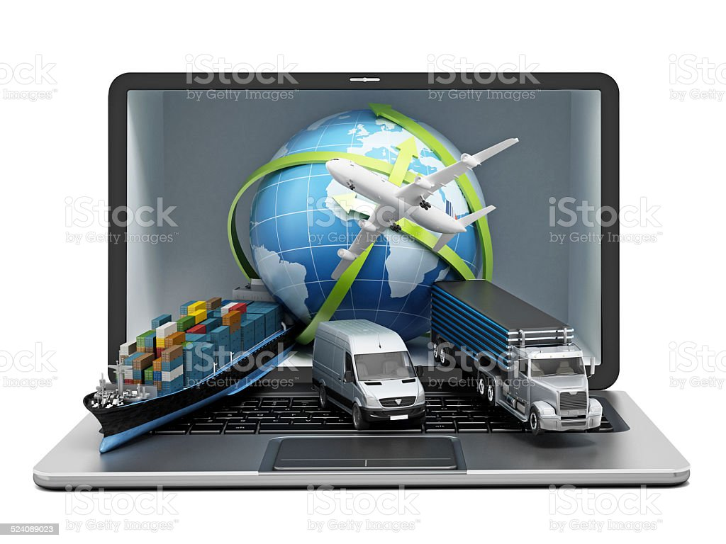 Global transportation vector art illustration