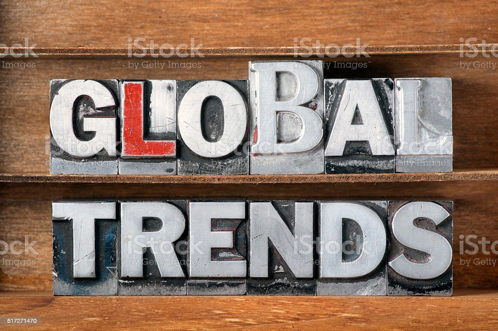 global trends tray stock photo