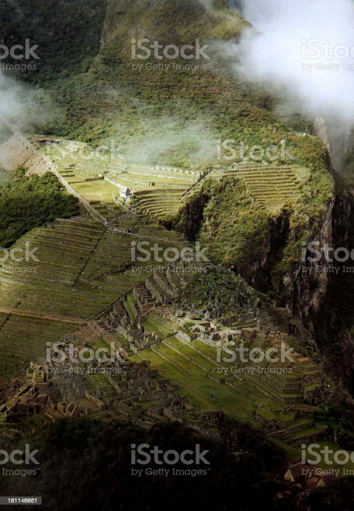 Global view of the matchu pichu, within the forest in peru royalty-free stock photo