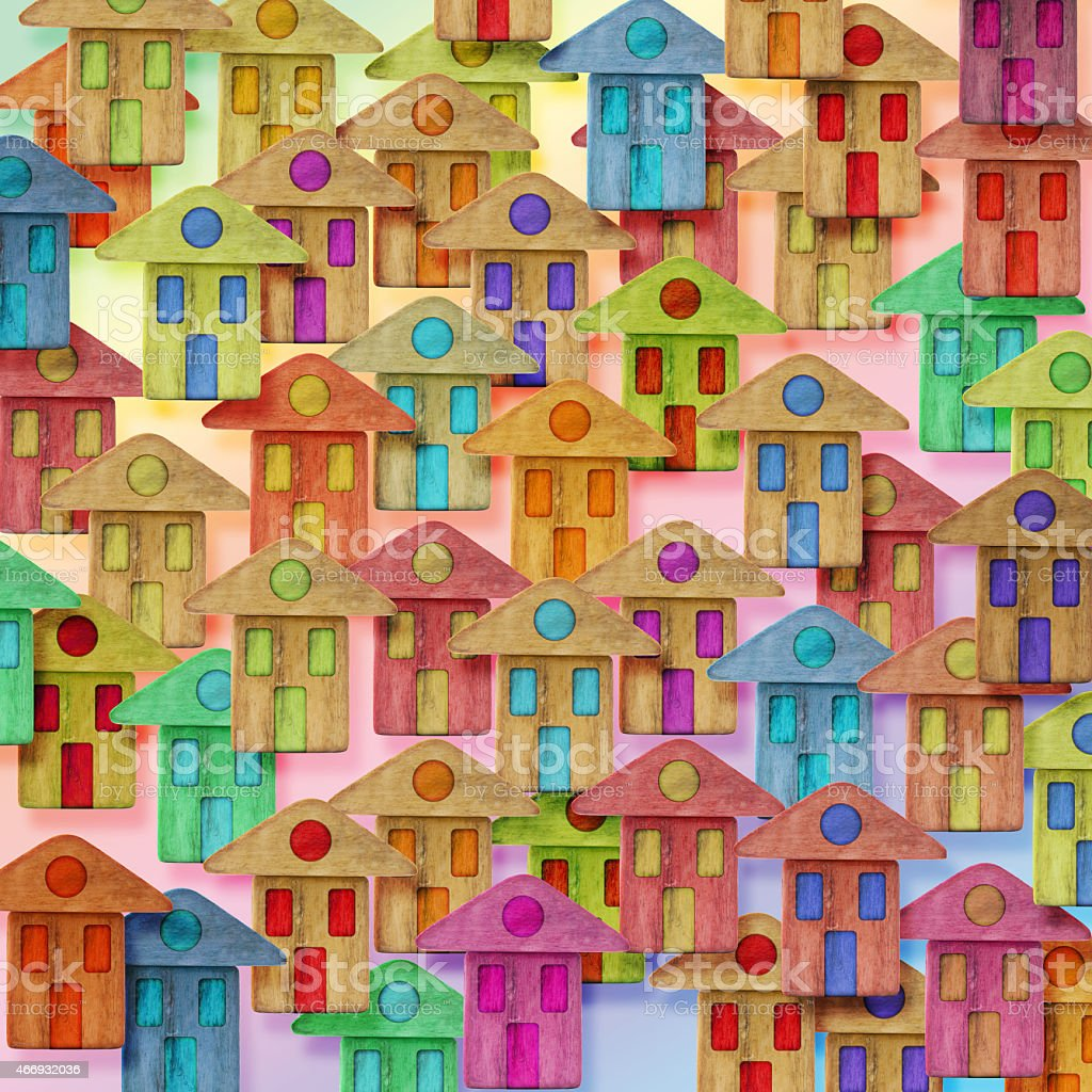 Global Village conceptual image with many colorful houses stock photo