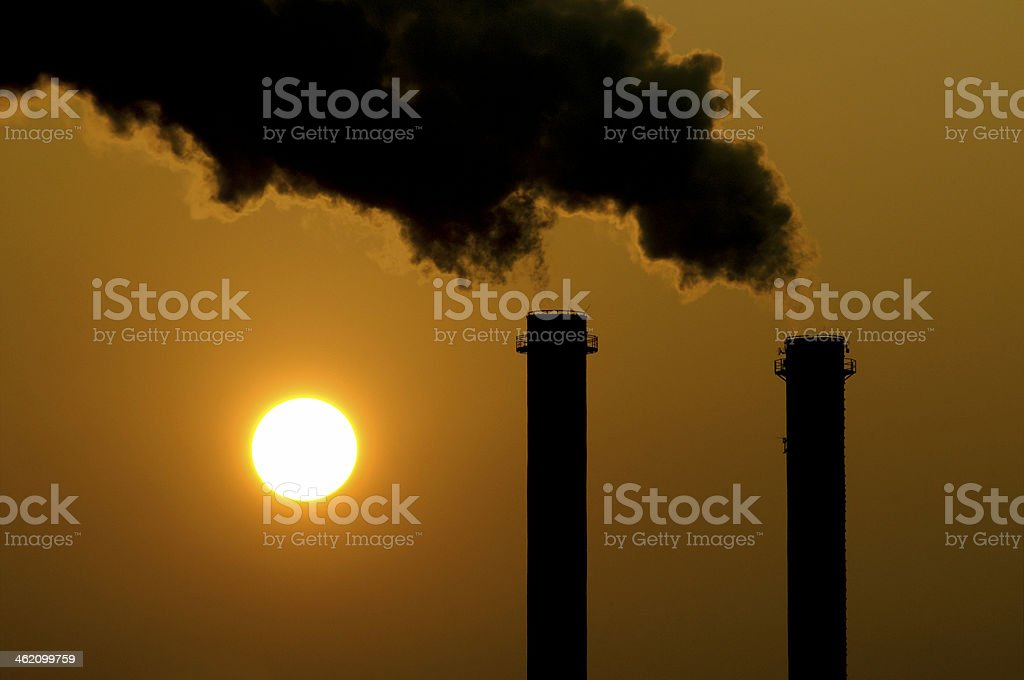 Global Warming at sunset stock photo