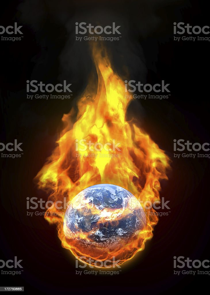 Global warming: Earth catching fire royalty-free stock photo