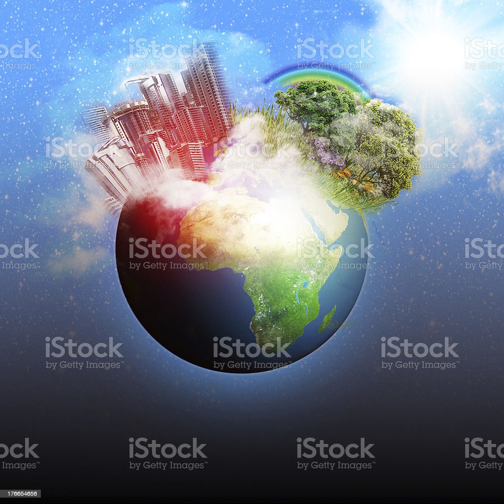 GLobal warming effect on the earth royalty-free stock photo