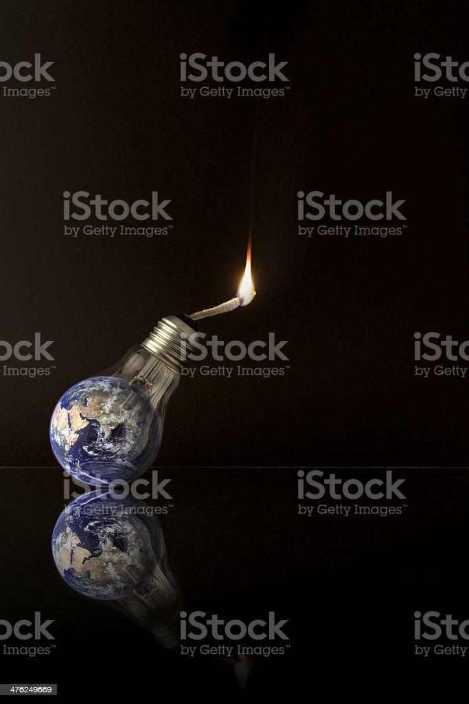Global Warming Ideas - Isolated on black / Portrait orientation stock photo