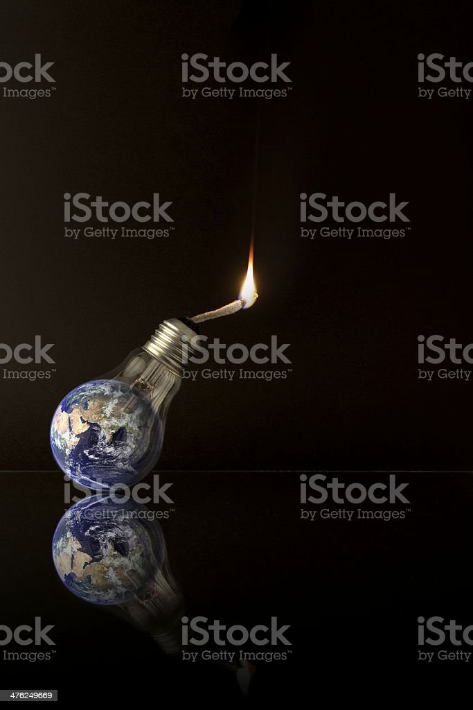 Global Warming Ideas - Isolated on black / Portrait orientation stock photo