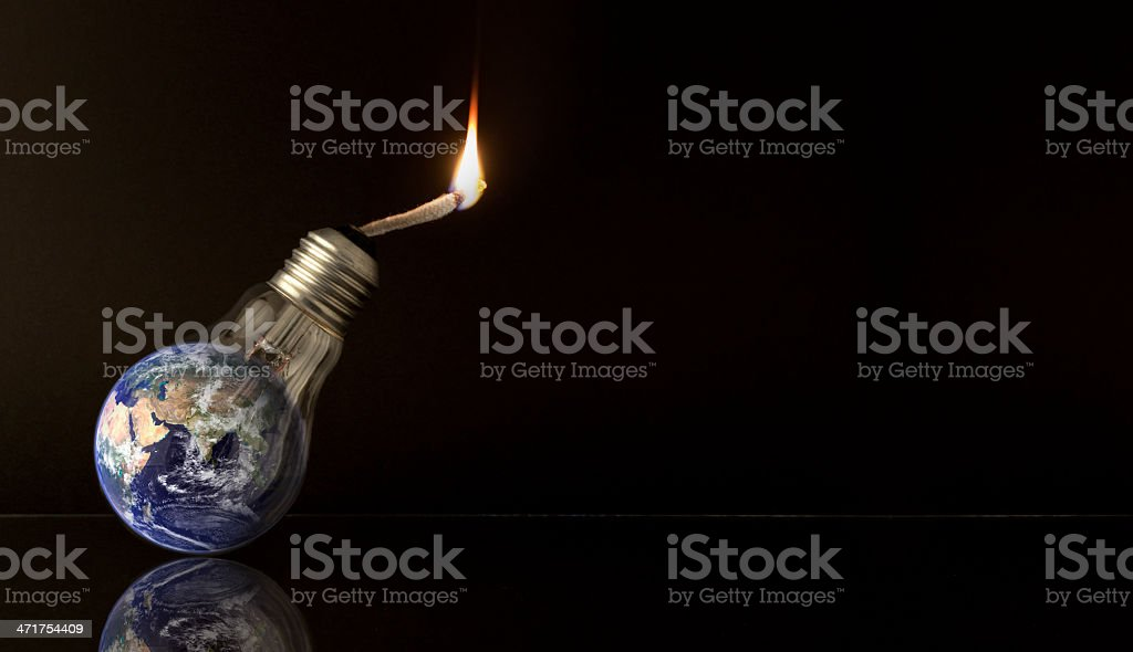 Global Warming Ideas - Reflected on black stock photo