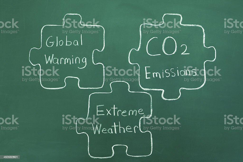 Global Warming Puzzle Pieces stock photo