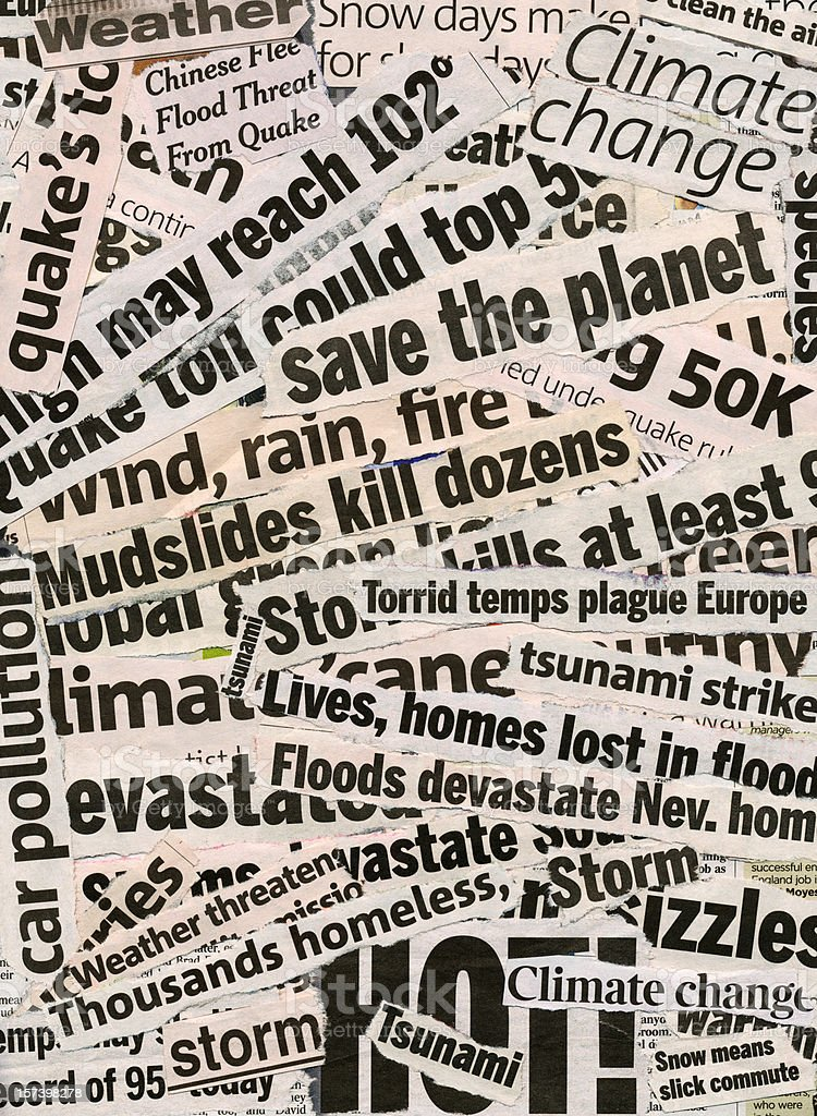 Global warming related collage of newspaper headlines stock photo