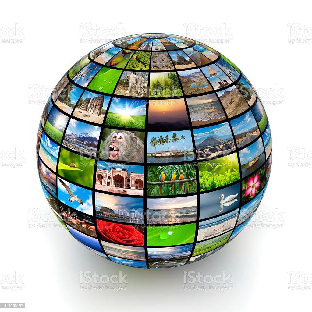 Global worldwide information media stock photo