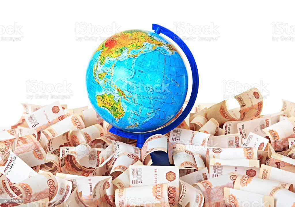 Globe against five thousandth Russian banknotes stock photo