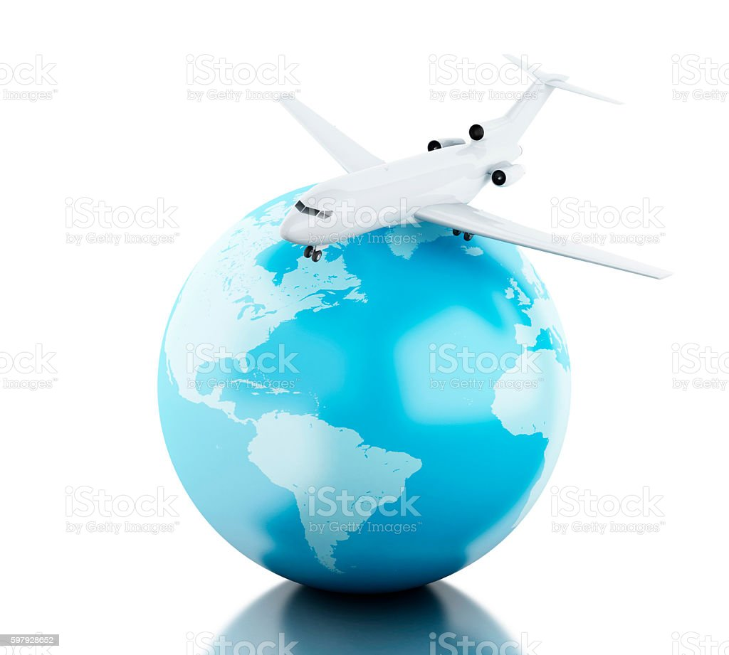 3D Globe and airplane stock photo