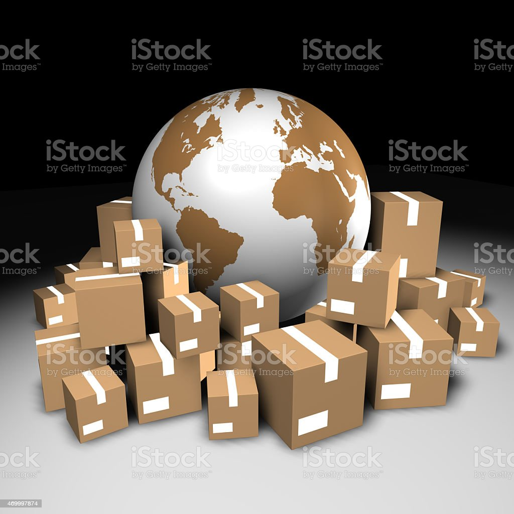 Globe and cardboard boxes stock photo