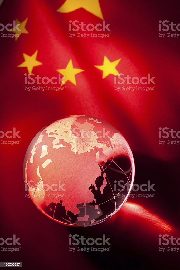 Globe and China Flag stock photo