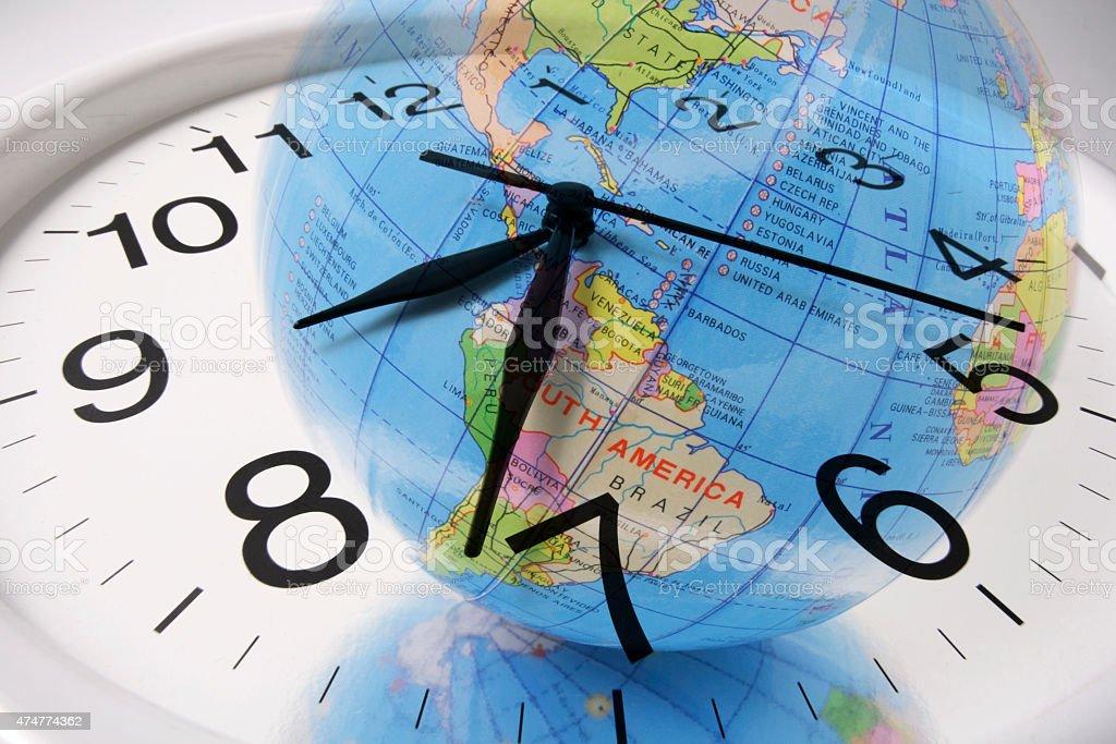 Globe and Clock stock photo