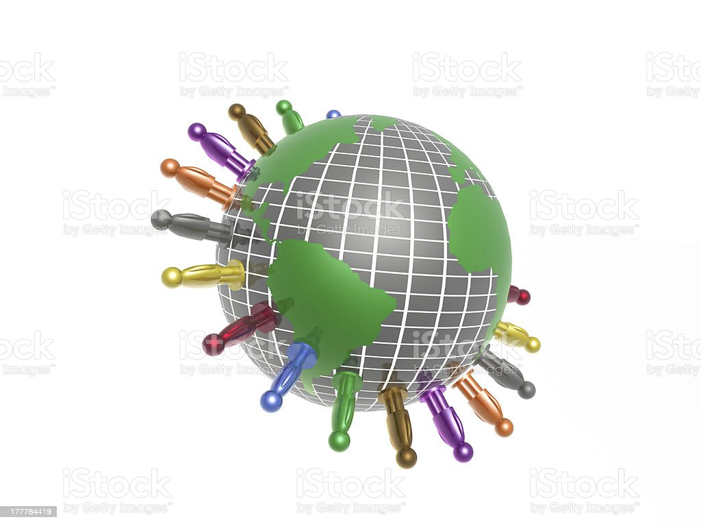 Globe and color mans royalty-free stock photo