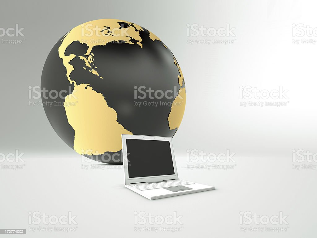globe and computer on white background royalty-free stock photo
