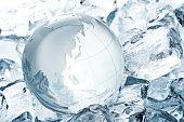 Globe and ice glass