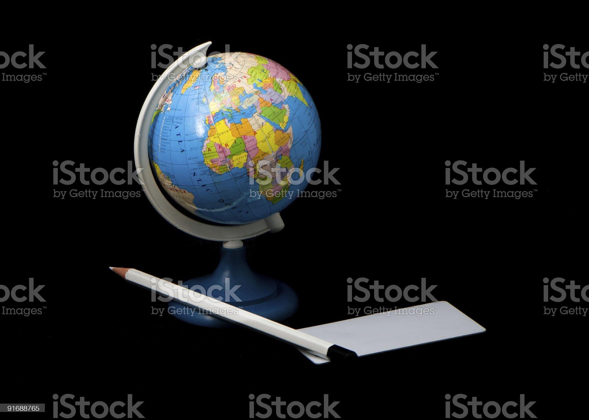 globe and pencil royalty-free stock photo
