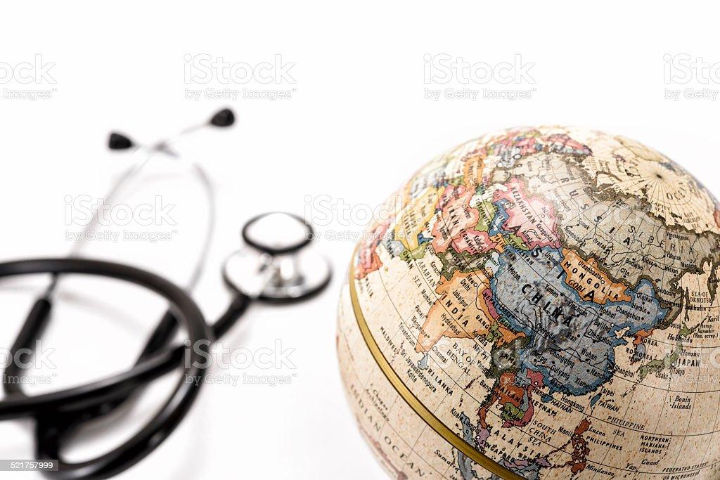 Globe (Asia ) and stethoscope stock photo
