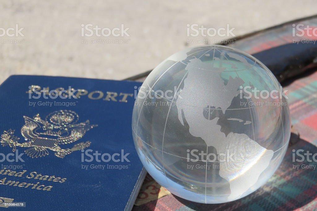 Globe and USA Passports stock photo