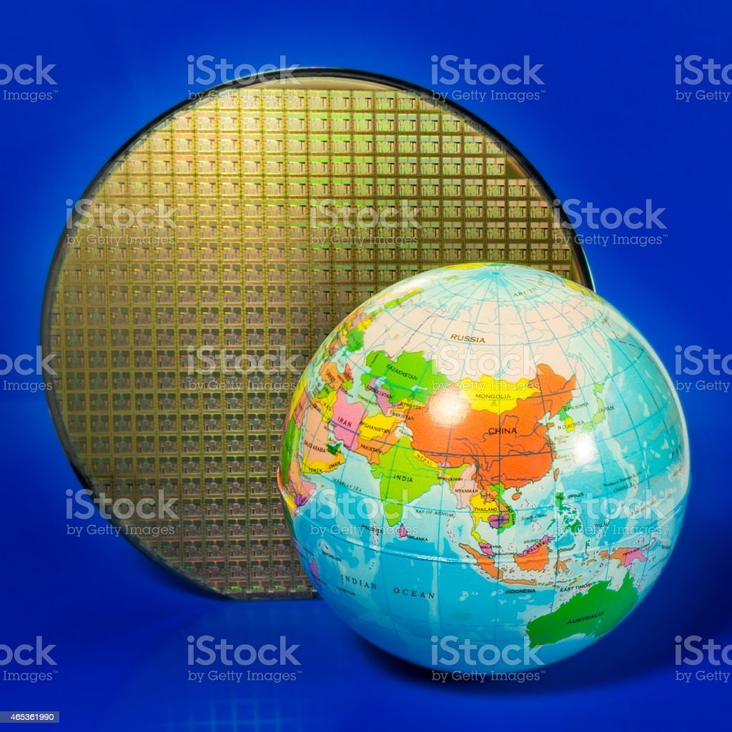 Globe and wafer - focus on China stock photo