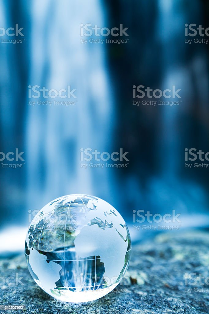 Globe and Waterfall stock photo