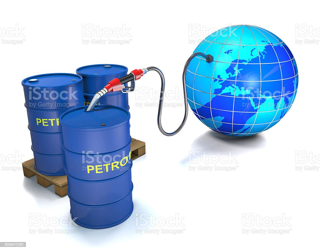 Globe, barrel, pallet, hose and valve. stock photo