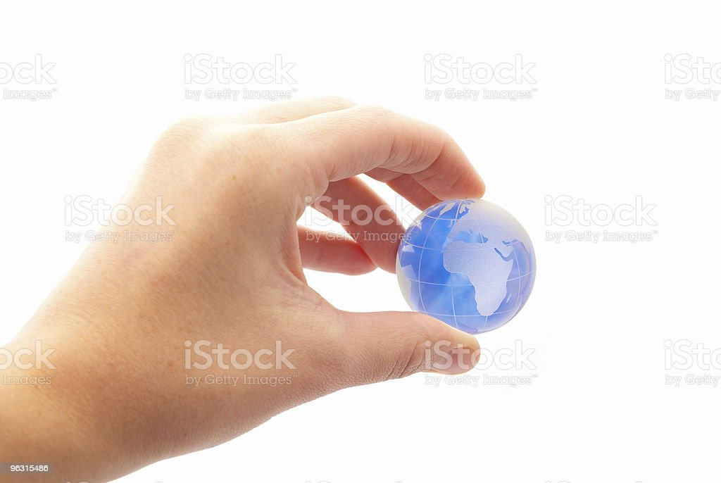 Globe between finger ( High Key ) royalty-free stock photo
