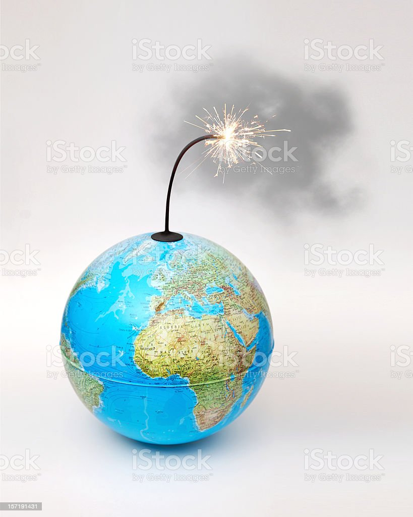 Globe bomb with smokey lit fuse on white background royalty-free stock photo