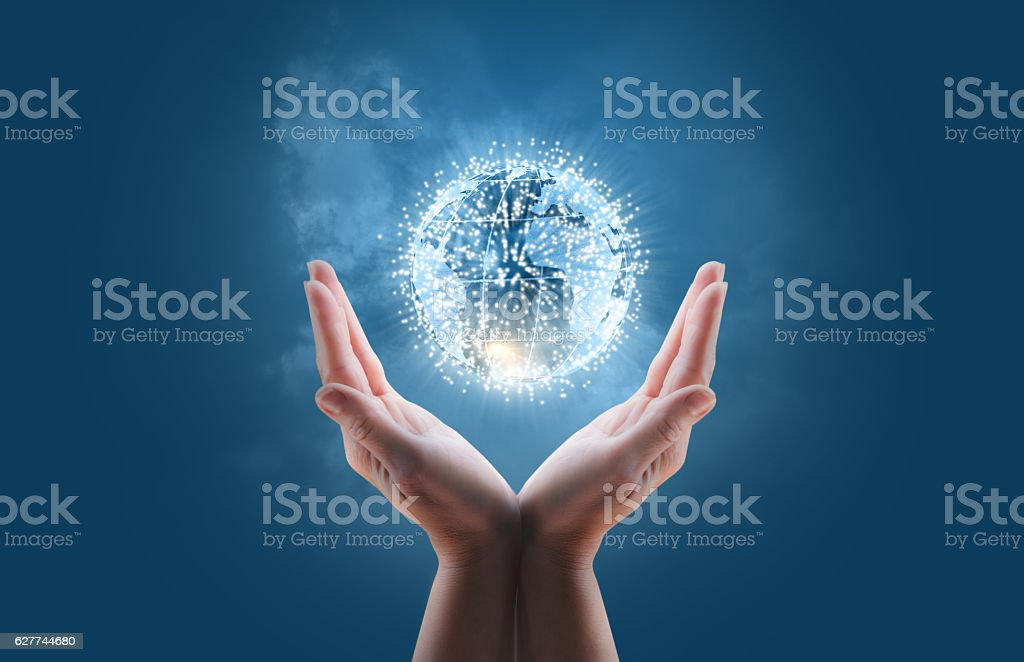 Globe business network. stock photo