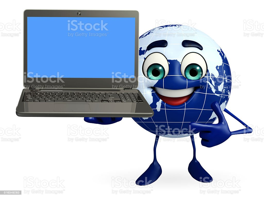 Globe Character with Laptop stock photo