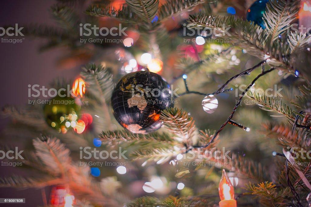 Globe Christmas decoration stock photo