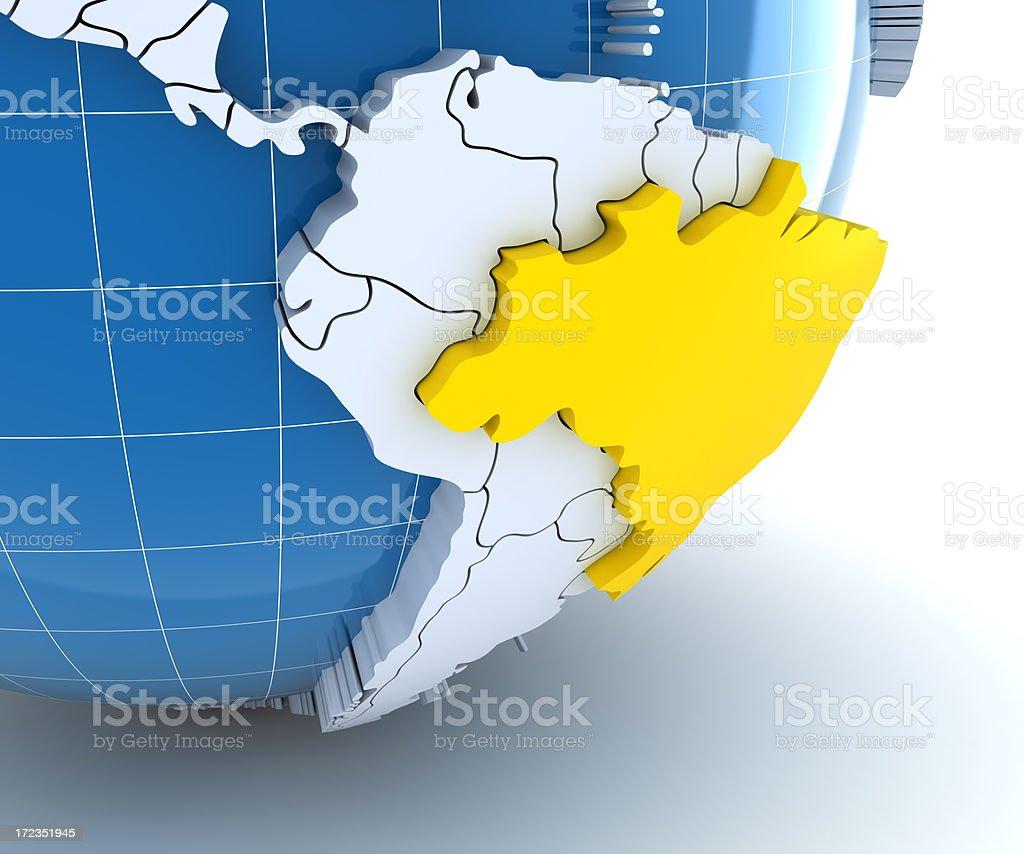 Globe, close-up on Brazil royalty-free stock photo